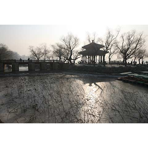 Beijing (China) and its region: view of the frozen lake of the Summer Palace China photo Paul Maurer