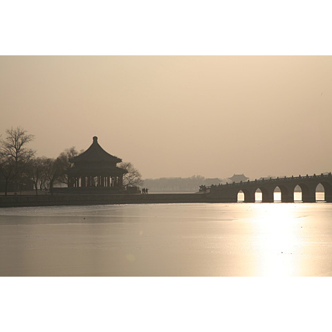 Beijing (China) and its region: view of the bridge on the frozen lake  of the Summer Palace China photo Paul Maurer