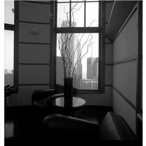Travel to the States, Cleveland Ohio, Downtown through the window, photo Paul Maurer
